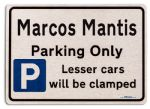 Marcos Mantis Car Owners Gift| New Parking only Sign | Metal face Brushed Aluminium Marcos Mantis Model